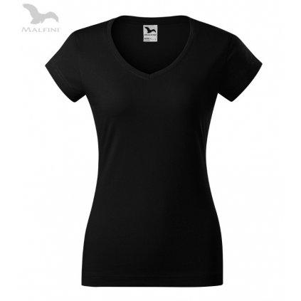 Dámské tričko s výstřihem do V bez potisku černé