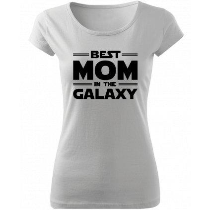 Dámské tričko best mom in the galaxy bílé
