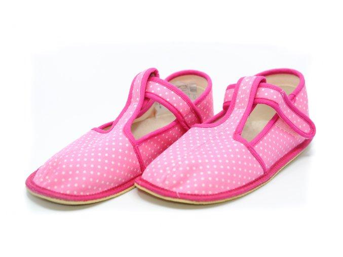 BEDA papuče ružové bodky užší strih