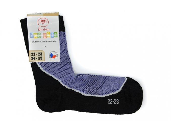 Detské športové ponožky s merinom fialové