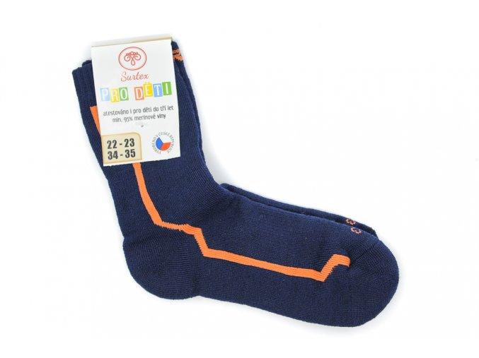 Detské froté ponožky s merinom tmavomodré