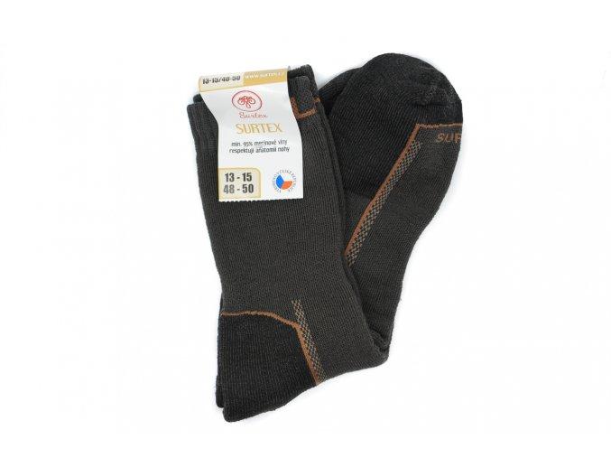 Pánske froté ponožky s merinom hnedé