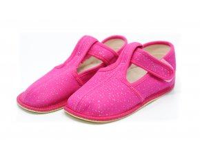 BEDA papuče Ružové trblietky užší strih