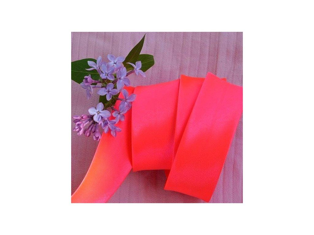 156 cm šikmý proužek neon růžový 30 mm (100% polyester)
