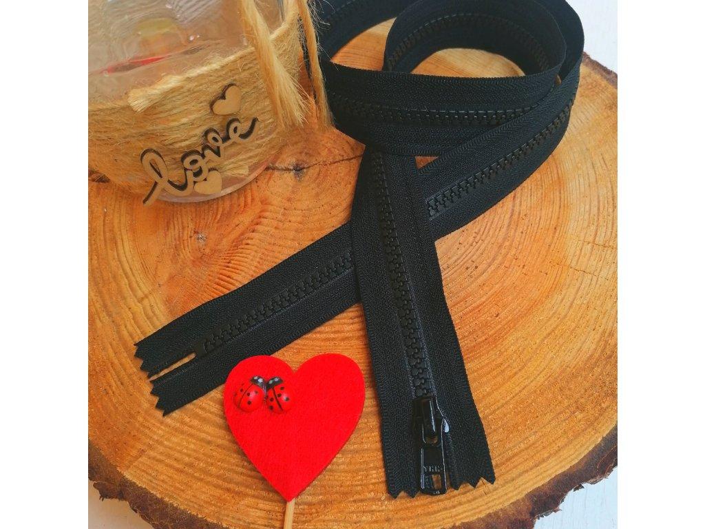 nedělitelný kostěný zip YKK - 50 cm, černý