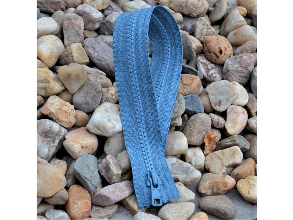 nedělitelný kostěný zip YKK - 40 cm, modrošedý