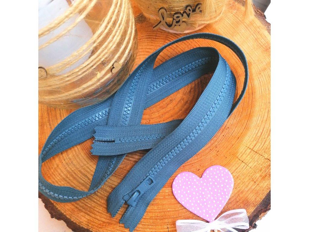 nedělitelný kostěný zip YKK - 80 cm, modrošedý