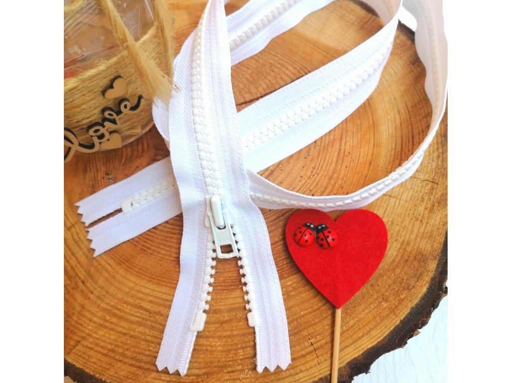 nedělitelný kostěný zip YKK  vel. 8 - 90 cm, bílý