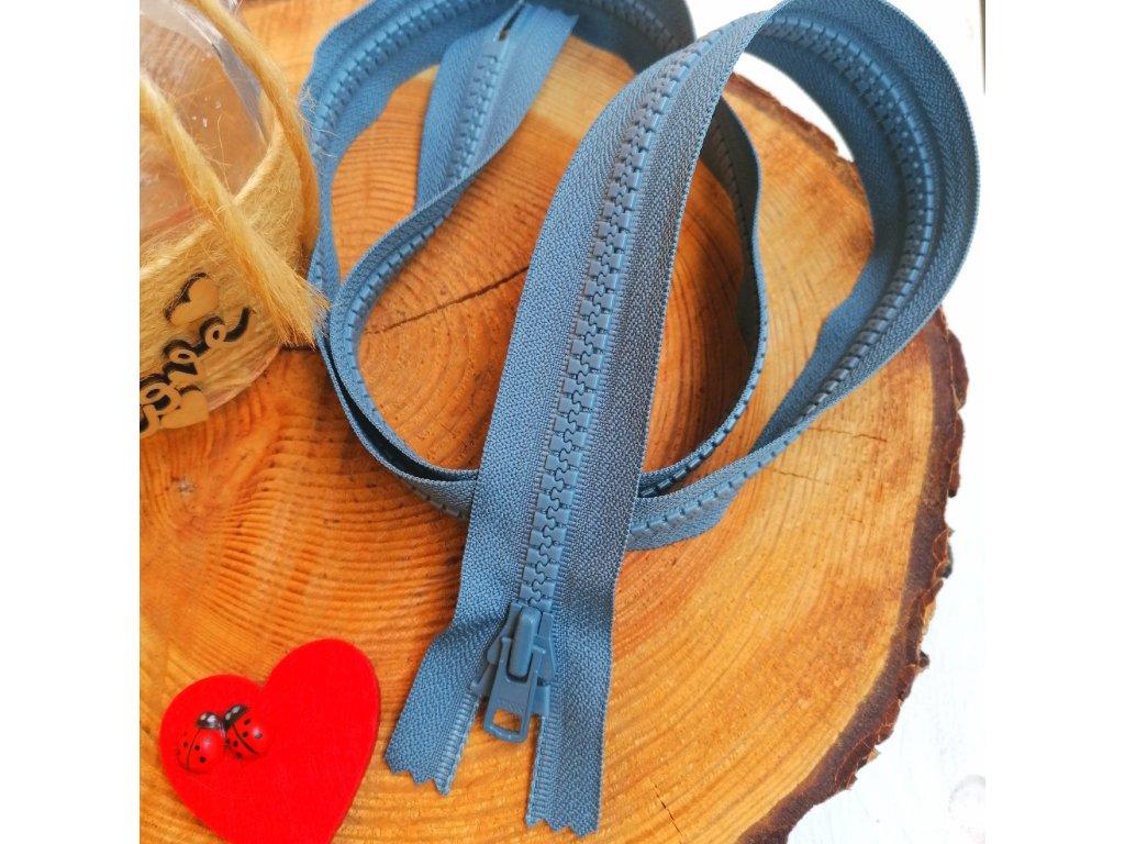 nedělitelný kostěný zip YKK vel. 8 - 90 cm, modrošedý