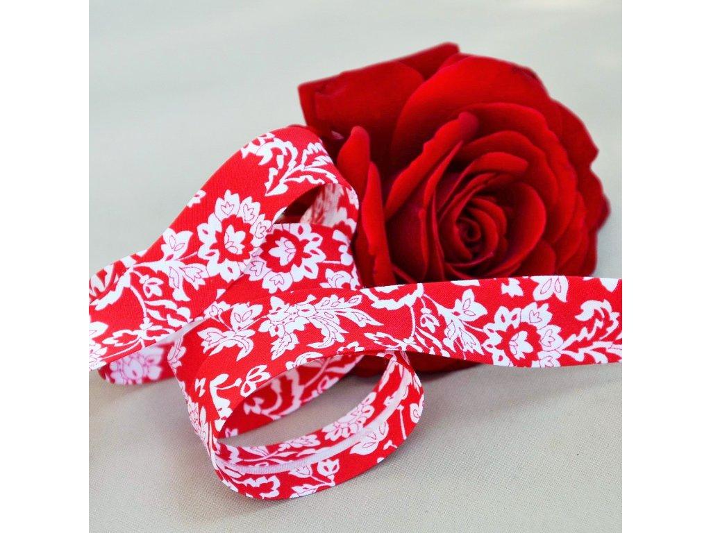 0,5 m šikmý proužek květiny v červené 18 mm (bavlna)