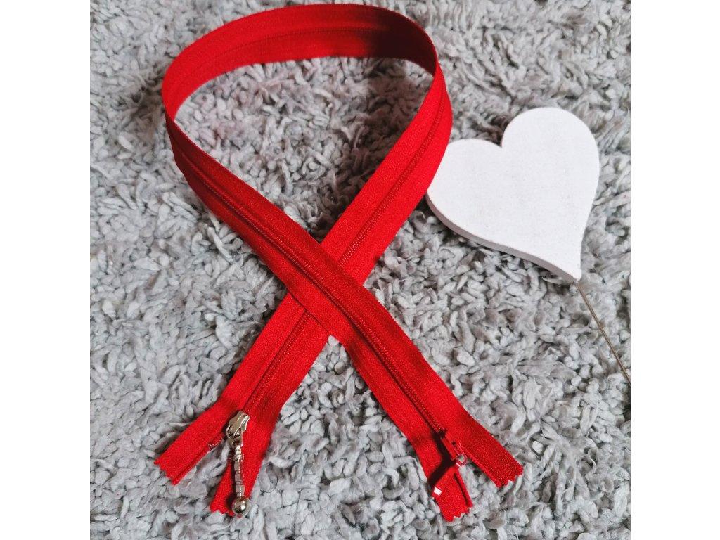 nedělitelný spirálový zip YKK, vel. 3 (2 jezdci) - 55 cm, červený