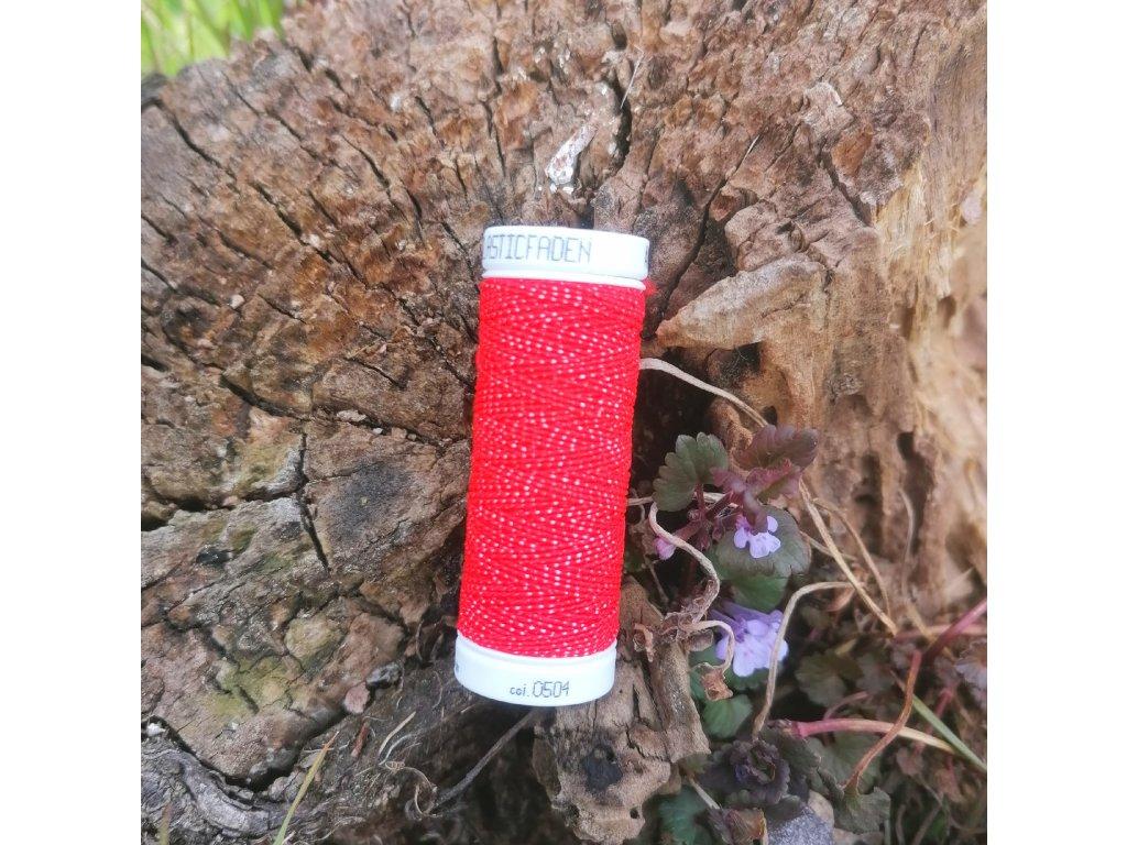 pružná niť na žabičkování červená - Elasticfaden 10 m