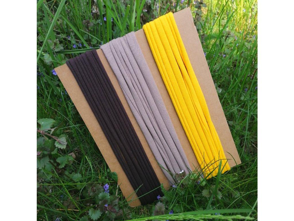 Balíček úpletových tkaniček - 3 x 200 cm, mix barev
