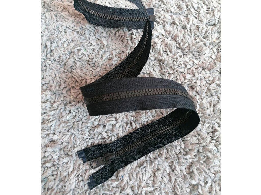 dělitelný kostěný zip YKK METALUXE - 67 cm, černá stuha, matné černé zuby