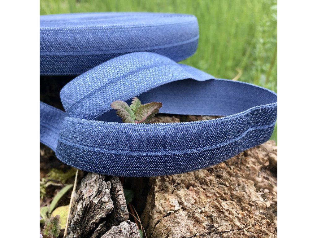 0,5 m půlená lemovací pruženka 20 mm džínově modrá