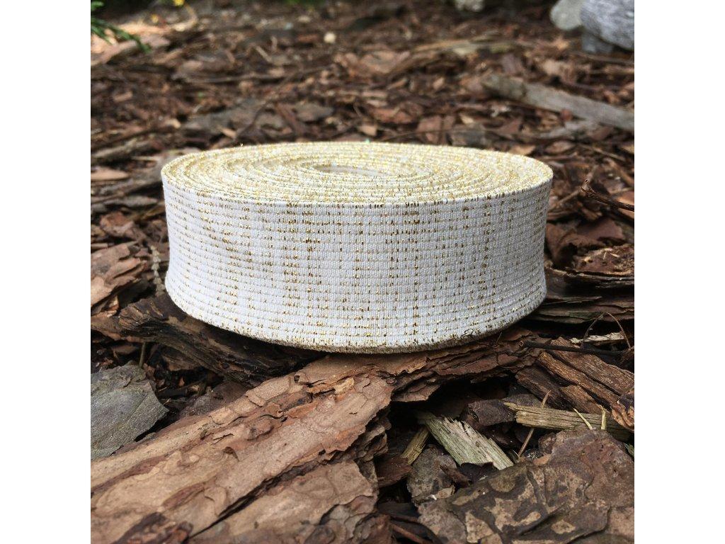 0,5 m guma do pasu bílá se zlatými proužky 4 cm