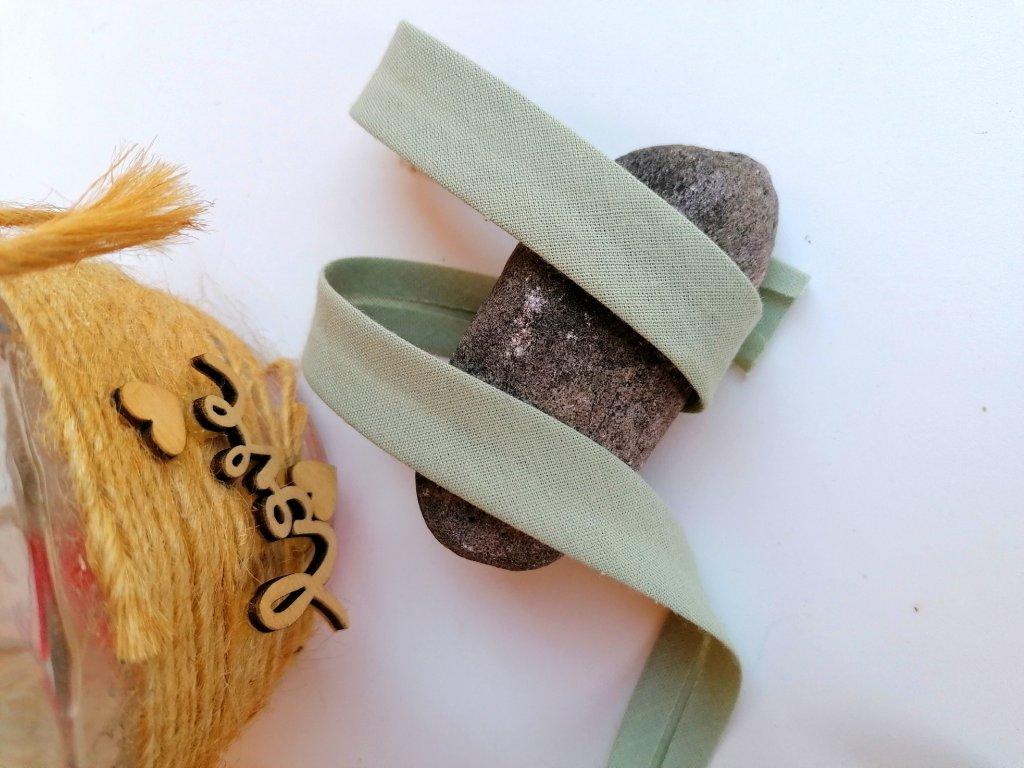 0,5 m šikmý proužek olivový 18 mm (bavlna/polyester)