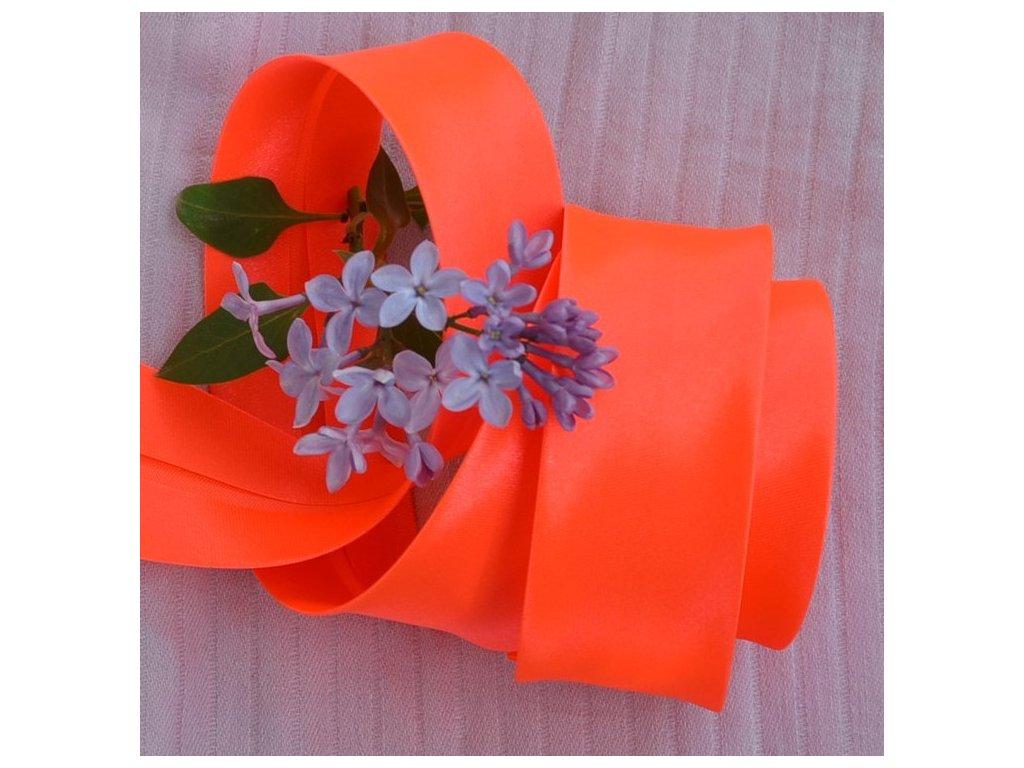 0,5 m šikmý proužek neon oranžový 30 mm (100% polyester)