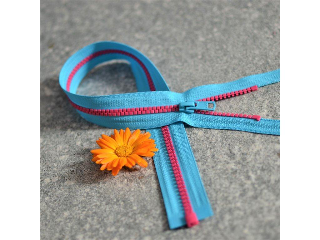 dělitelný kostěný zip YKK - 40 cm, tyrkysová stuha, růžové zuby