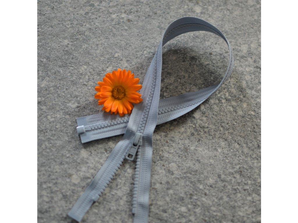dělitelný kostěný zip YKK - 60 cm, světle šedá, FLAT design