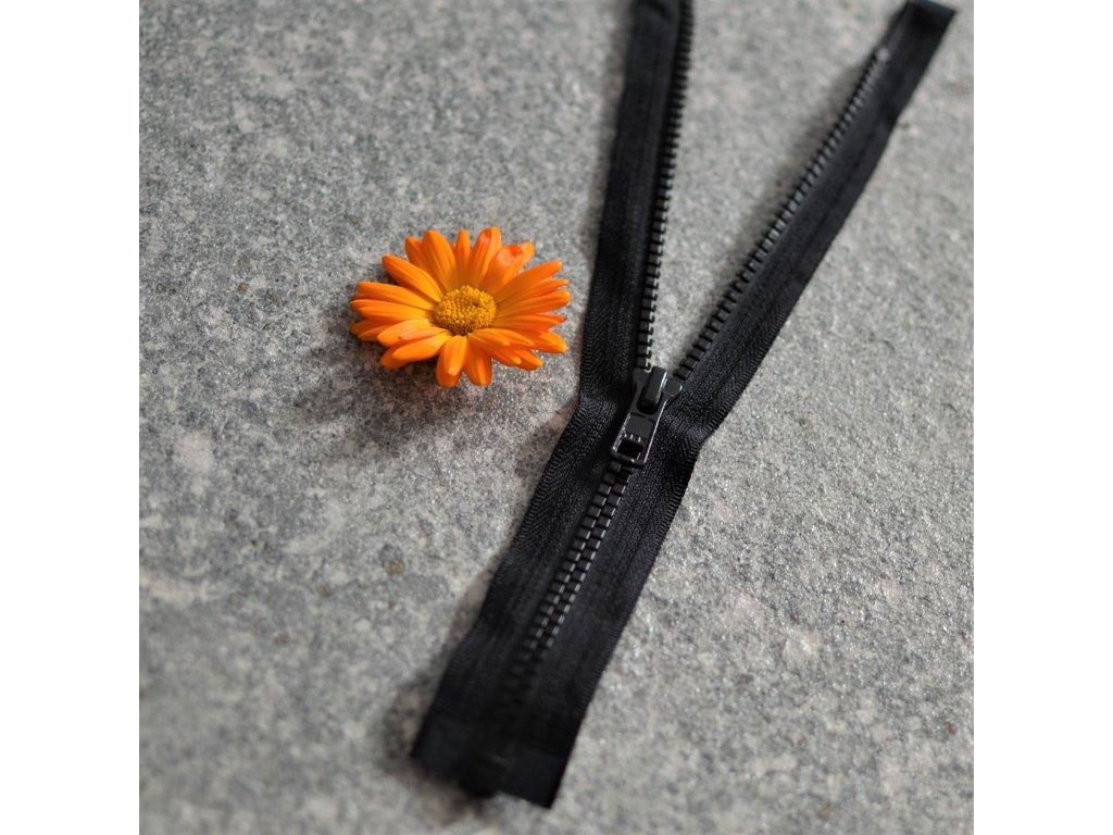 dělitelný kostěný zip YKK - 30 cm, černá, FLAT design