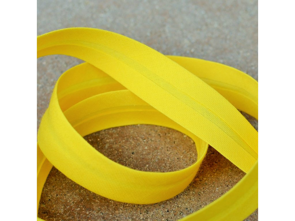 0,5 m šikmý proužek žlutý 18 mm (100% bavlna)