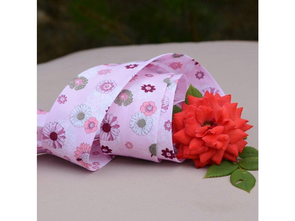 0,5 m šikmý proužek růžové květy 30 mm (100% bavlna)