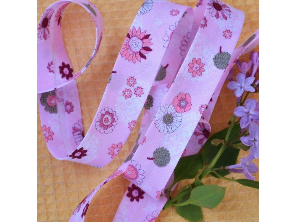0,5 m šikmý proužek růžové květy 18 mm (100% bavlna)