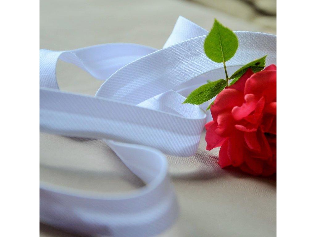 0,5 m šikmý proužek bílý spirálový 18 mm (polyester/bavlna)