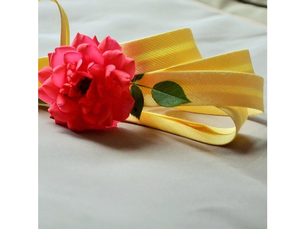 0,5 m šikmý proužek žlutý spirálový 18 mm (polyester/bavlna)