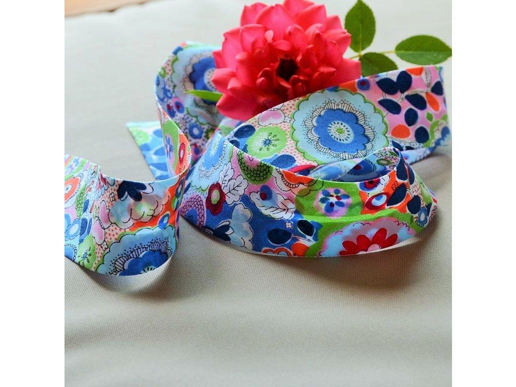0,5 m šikmý proužek rozkvetlá louka barevná 30 mm (100% bavlna)