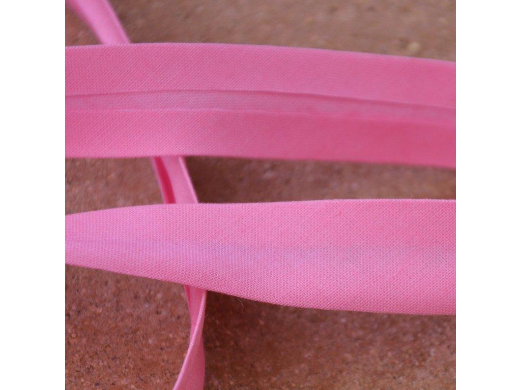 0,5 m šikmý proužek zažehlený jasně růžový 18 mm (100% bavlna)