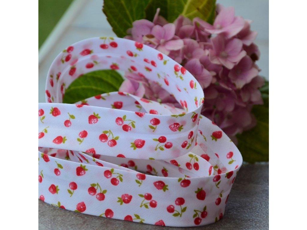 0,5 m šikmý proužek třešně jahody 18 mm (bavlna)