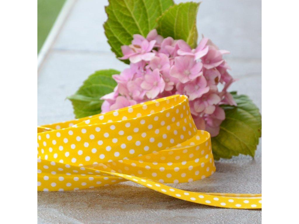 0,5 m šikmý proužek žlutý s puntíky 18 mm (bavlna/polyester)