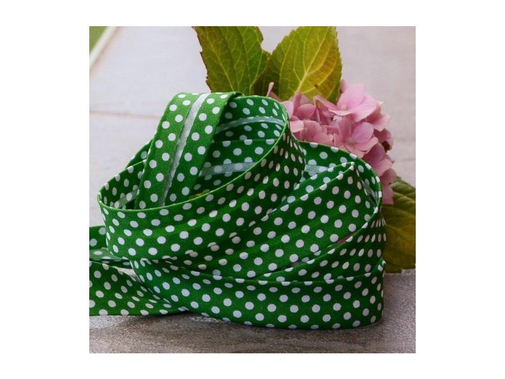 """0,5 m šikmý proužek zelený """"brčál""""s puntíky 18 mm (bavlna/polyester)"""