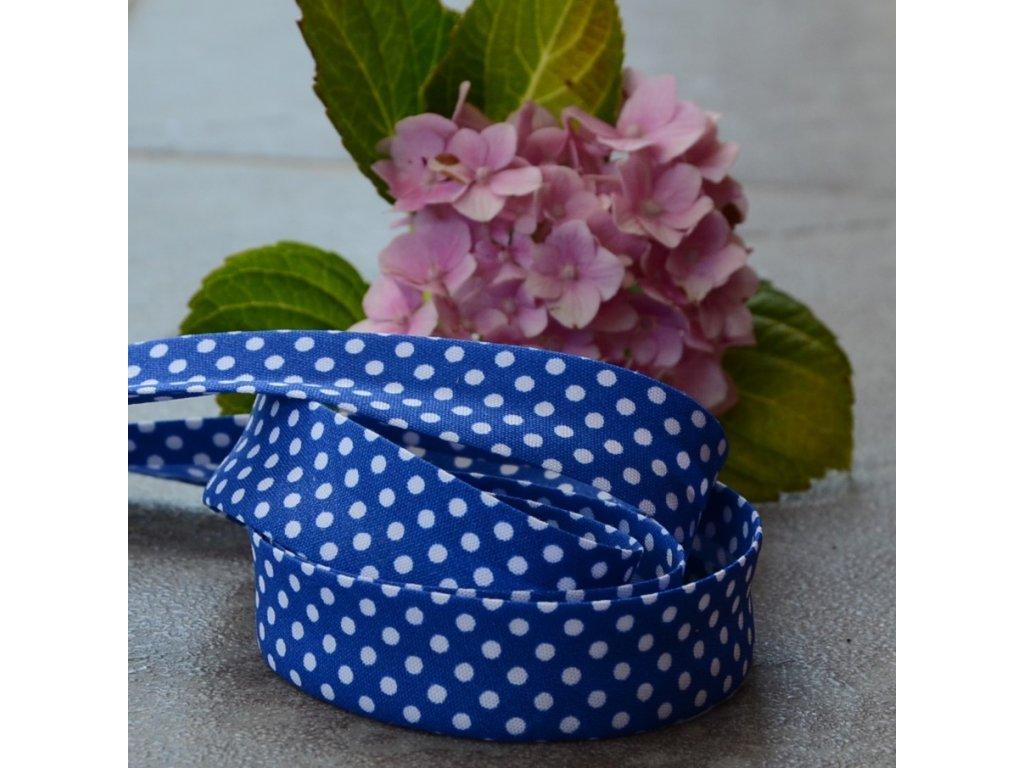 0,5 m šikmý proužek tmavě modrý s puntíky 18 mm (bavlna/polyester)
