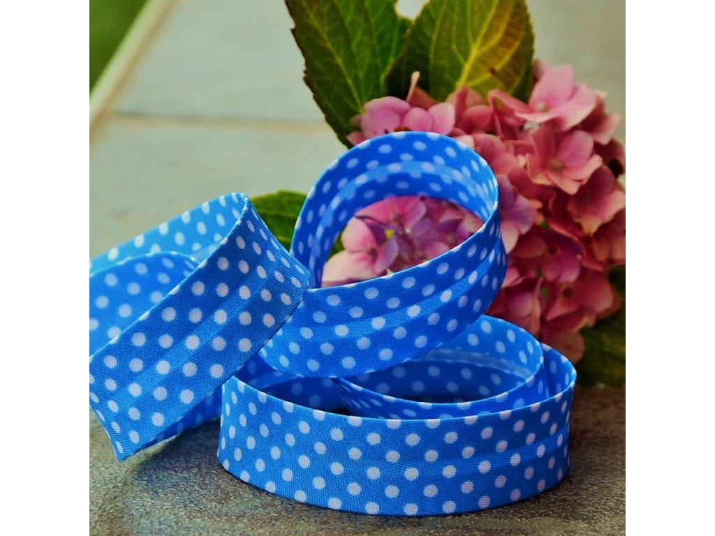 0,5 m šikmý proužek modrý s puntíky 18 mm (bavlna/polyester)
