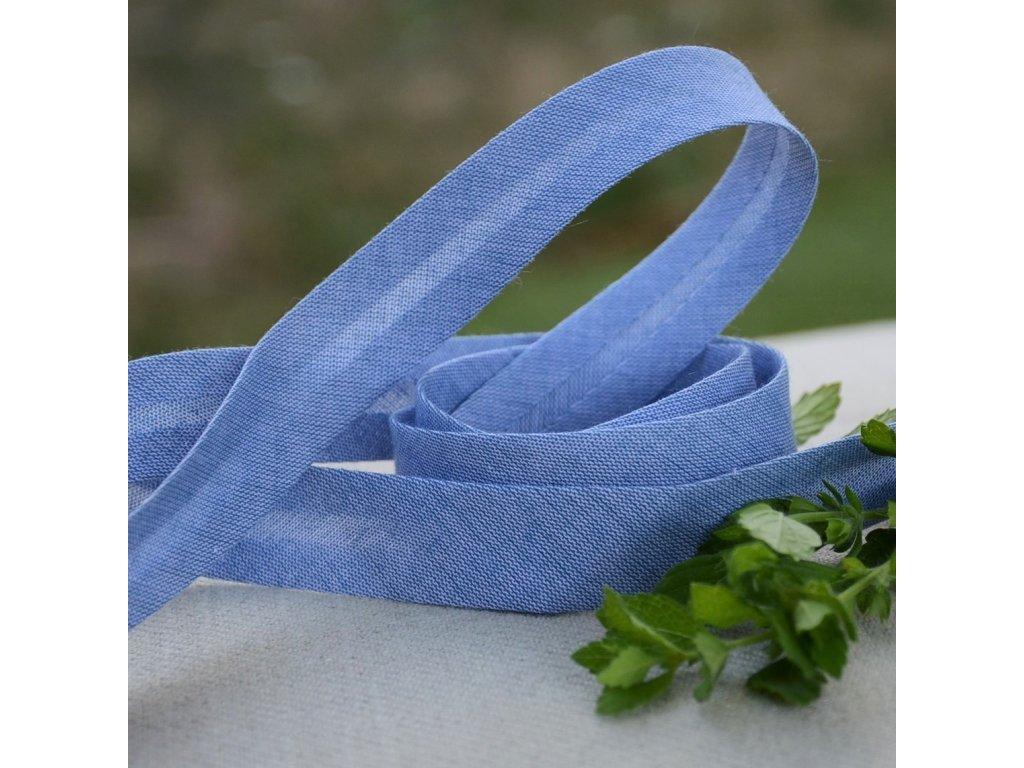 0,5 m šikmý proužek denim style modrý 18 mm (bavlna/polyester)