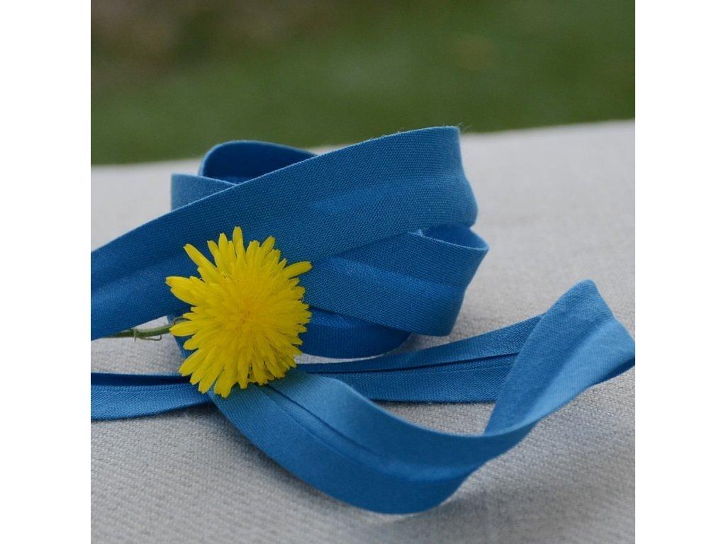 0,5 m šikmý proužek tmavší modrá 18 mm (bavlna/polyester)