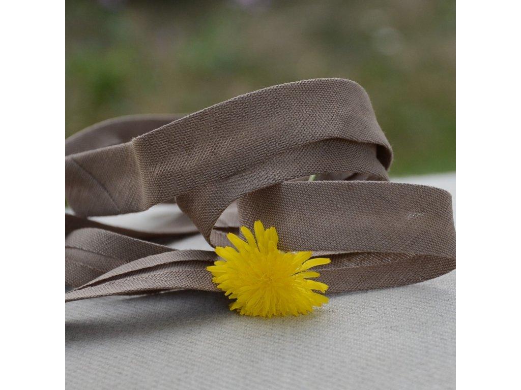 0,5 m šikmý proužek zažehlený lněný hnědý 18 mm (bavlna/len)