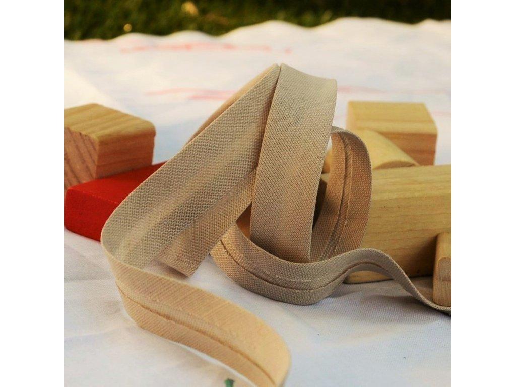 0,5 m šikmý proužek lněný béžový 18 mm (bavlna/len)