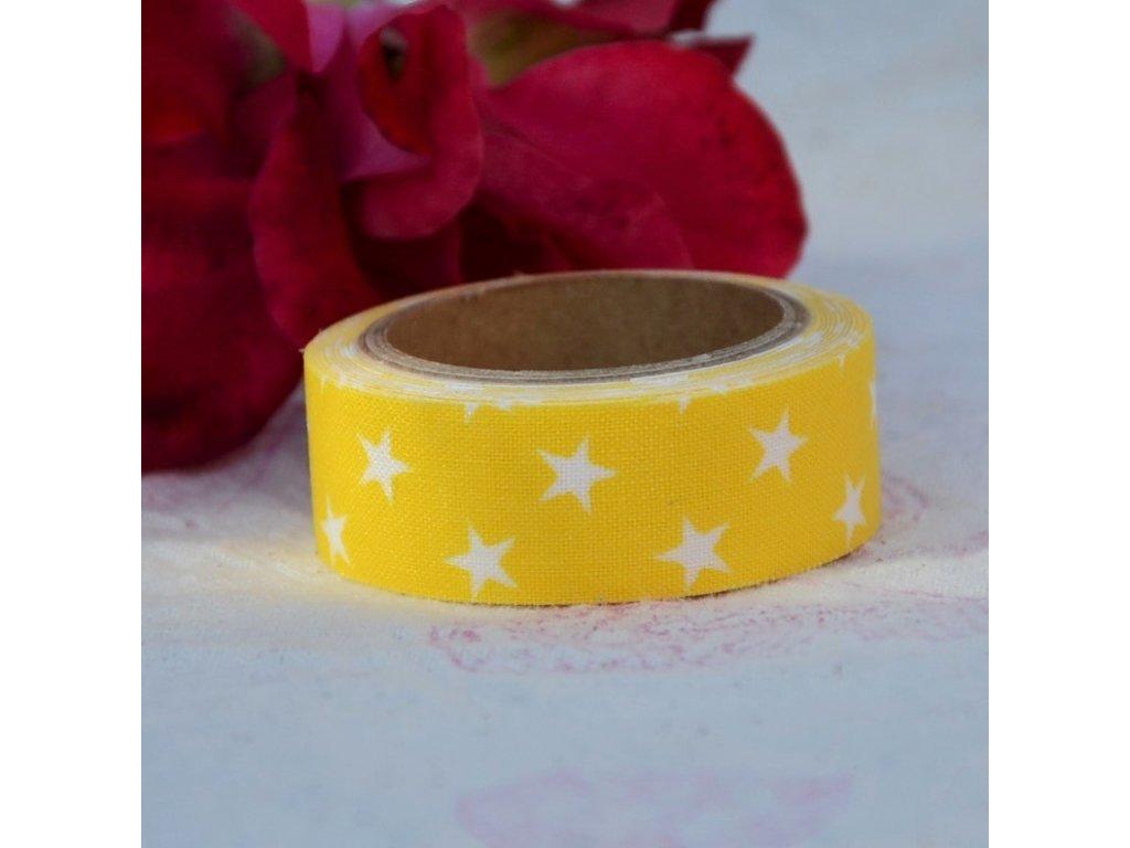 nuno deco látkopáska hvězdičky na žluté 15mm x 1,2m