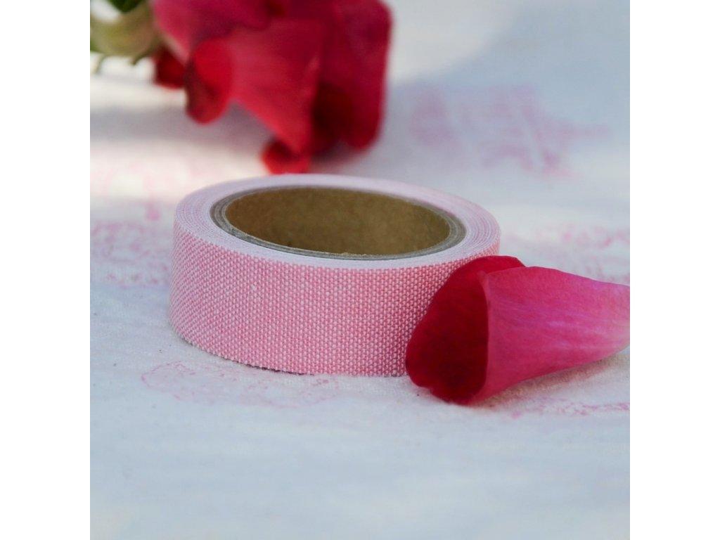 nuno deco látkopáska pastel růžová 15mm x 1,2m