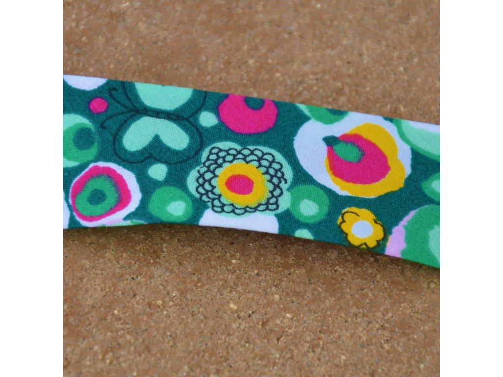 0,5 m šikmý proužek rozkvetlá louka zelená 30 mm (100 %bavlna)