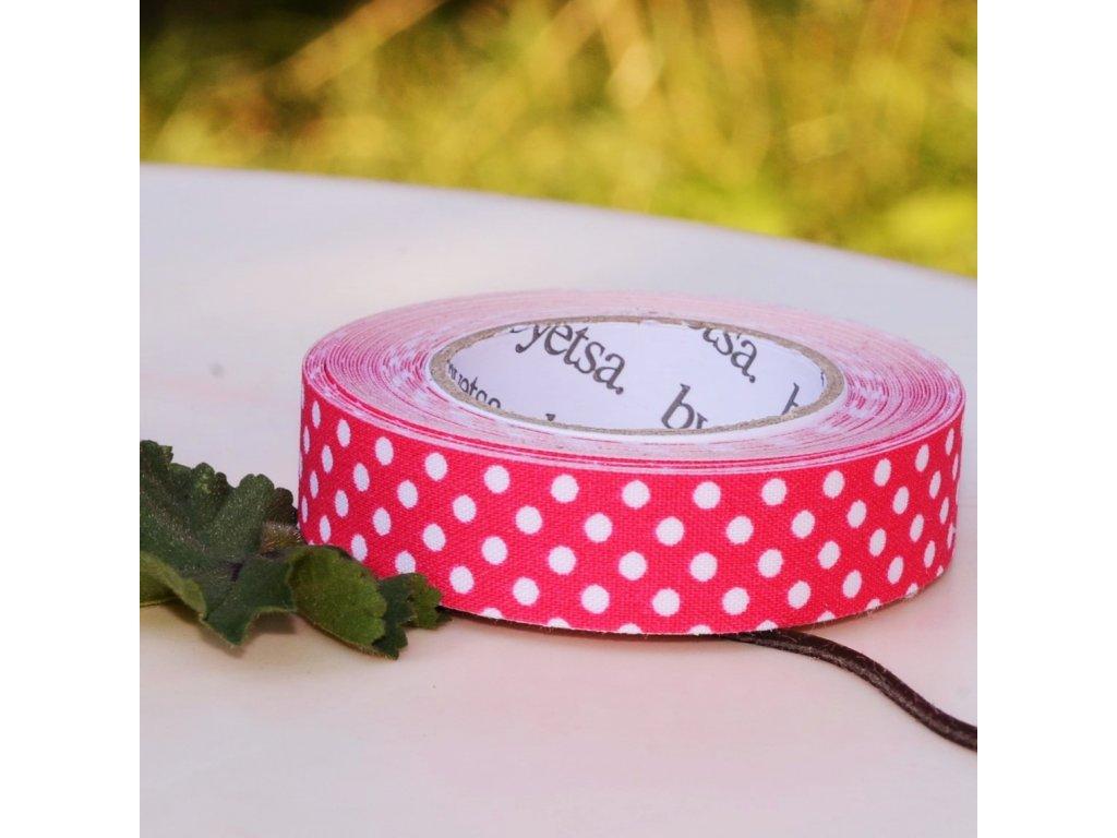 """látkopáska washiTex """"dots pink"""" 15mm x 5m"""