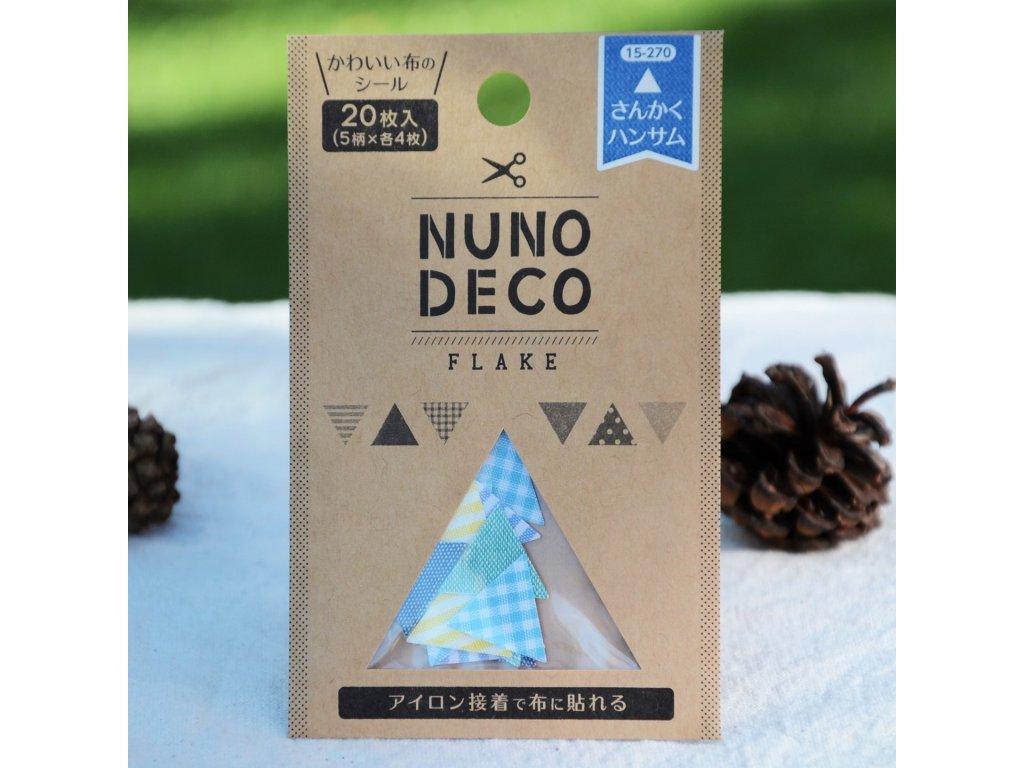 """nuno deco látkopáska tvary """"trojúhelníky modré"""""""