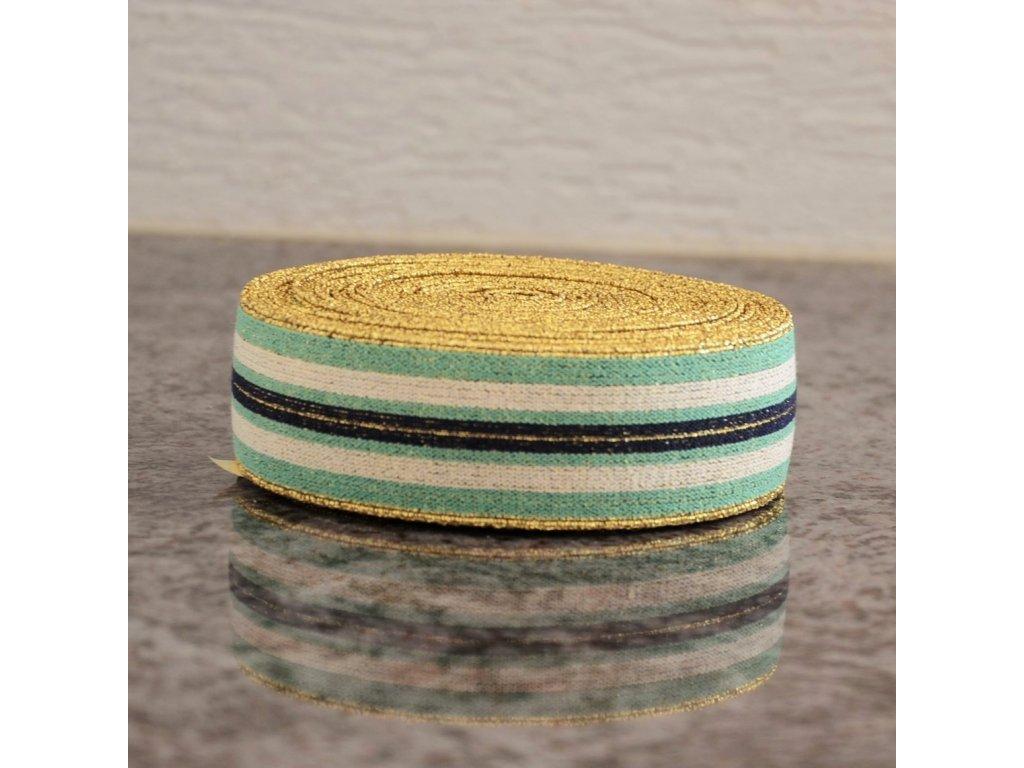 0,5 m guma do pasu proužky zelená černá bílá 4 cm