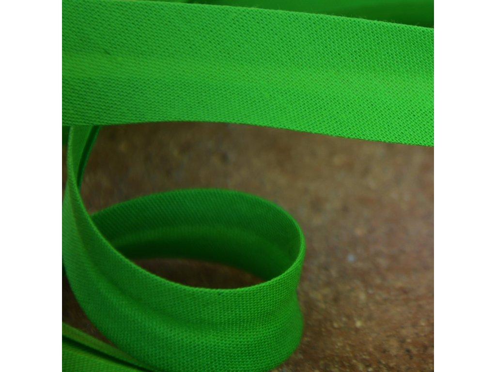 """0,5 m šikmý proužek zelený """"jarní tráva"""" 18 mm (bavlna/polyester)"""