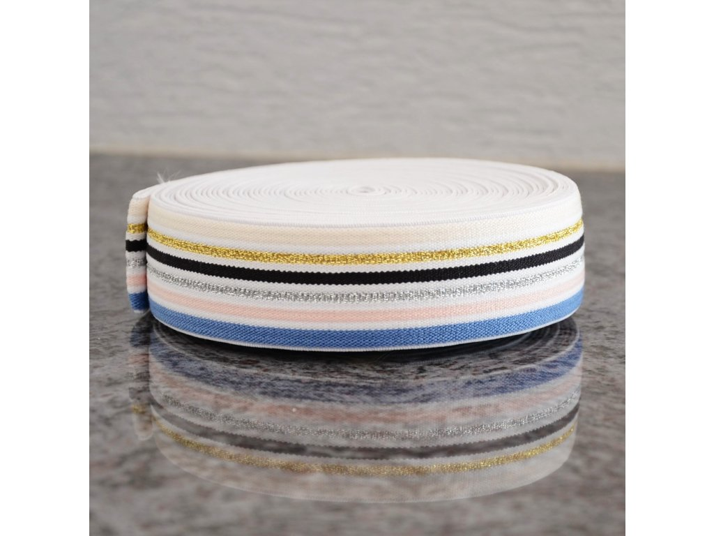 0,5 m guma do pasu proužky sedm barev 4 cm