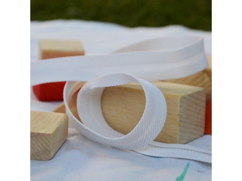 0,5 m šikmý proužek vytkávané proužky béžový 18 mm (polyester/bavlna)